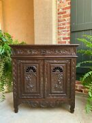 Antique French Carved Oak Sideboard Buffet Wine Cabinet Breton Brittany 19th C