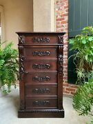 Antique French Carved Oak Tall Cabinet Faux Chest Of Drawers Louis Xiv Style