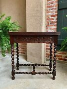 Antique French Carved Oak Game Table Barley Twist Louis Xiii Renaissance 19th C