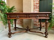 Antique French Carved Walnut Writing Desk Sofa Table Henri Ii Style C1900
