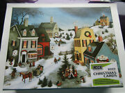 Lang Boxed Christmas Cards Caroling In The Village Set Of 18 New White Glitter