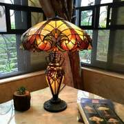 Style Table Lamp Victorian Handcrafted Bronze Stained Glass Double Light