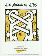 Keith Haring Art Attack On Aids 40 X 30 Serigraph 1988 Pop Art White Yellow