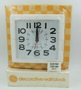 Vtg 1960s Ge Kitchen Electric Square Wall Clock White -made In Usa