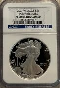2007 W Proof American Silver Eagle Ultra Cameo Early Releases Ngc Pf70