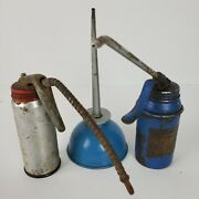 Vintage Antique Oil Cans Lot Of 3 Very Collectible