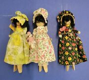 Vintage Clothespin Dolls Hand-made Folk Art Ornament Country Girls Super Cute