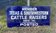 Rare Large Texas Southwestern Cattle Raisers Ranch Porcelain Sign 4 Ft By 2 Ft