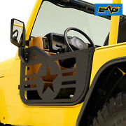 Eag Military Steel Tubular Door With Mirror Pair Fit For 97-06 Jeep Tj Wrangler