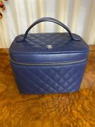 Authentic Navy Blue Quilted Leather Cc Logo Vanity Case/ Cosmetic Bag