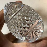 Vintage Solid Crystal Clear Cut Glass Egg Shaped Paperweight France 3.5 Tall