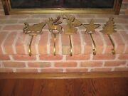 5 Vintage Heavy Solid Brass Gold Christmas Stocking Mantel Holders Made-india