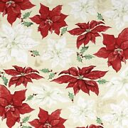 Christmas Holiday Large Poinsettia Tan 100 Cotton Fabric By The Yard