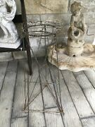 Antique French Wire Plant Stand 30andrdquo Tall Stunning Green Patina