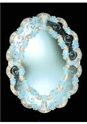 Mirror Venetian Glass Of Murano Oval With Gold 24 K Engraved By Hand In Italy