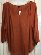 Talbots Womenand039s Peasant Top Blouse Tunic V Slit Neck 4 Sleeve Size 3x Nwt