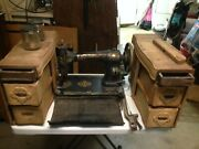 White Rotary Sewing Machine With Cabinet No Stand For Parts 1900 Era Antique