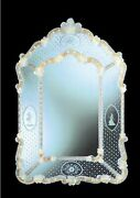 Mirror Glass Of Murano Style Venetian Decorations And Flowers W Gold 24 K Etched