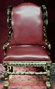 French Rocking Chair Antique New Leather Faux Chinchilla Fur