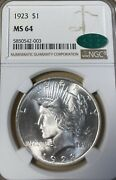 1923 Ngc/cac Ms64 Peace Silver Dollar