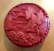 Vintage Chinese Red Cinnabar Lacquer Landscape Relief Trinket Box W/ Labels