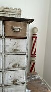 Antique Folk Art 1800and039s 24 Drawer Apothecary Original Grey Paint Square Nails