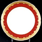 12 Antique Minton Red Plates Gold Encrusted/gold Beading/acid Etched Border