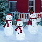 Snowman Family Christmas Decoration Led 3-pack Pop-up Pre-lit Indoor Outdoor