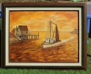Marge Wright Oil Painting Fishing Boat 1st Place Silver Dollar Fair 1983