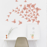 72pcs 3d Hollow Butterfly Wall Stickers Rose Gold/golden/silver Wall Stickers Di