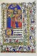 Real Parchment Illuminated Manuscript Leaf The Book Of Hours Museum Grade