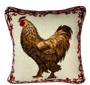 Needlepoint Pillow   French Country Cottage Chicken 14 X 14 By Candf Enterprise