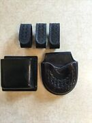 Black Leather Speed Handcuff Cases Basketweave And Smooth Also 3 Belt Keepers