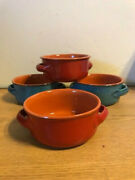 4 De Silva Handled Bowls Soup Chili Italy Red Turquoise Terracotta Pottery