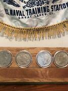 Lot Of Four Silver Peace Dollars 1924 P, 1925 P,1926 S 1928 S And 90 Silver