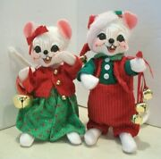 Cute Pair Of Annalee Jingle Bell 6 Christmas Figures Girl And Boy White Mice Nwt