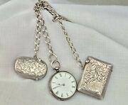 Antique Sterling Silver Swiss Pocket Watch And Birmingham Chain With Match Vestas