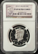 2012-s 50c Kennedy Half Dollar Silver Proof Gem Ngc Certified Pf 69 Ultra Cameo