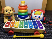 Fisher Price Baby Toys Vintage Lot Of 4 Puppy Stacking Rings Xylophone Phone