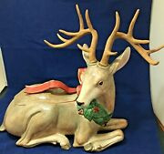 Fitz And Floyd Christmas Holiday Leaves Large Centerpiece Deer/cookie Jar
