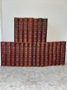 22 Vol Antique 1902 Book Set, Charles Dickens Complete Works, Leather/marble