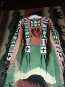 Unique Western Wall Decor Native American Style Braintanned Leather Beaded Shirt