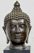 Very Large Very Heavy Bronze Buddha Head In Excellent Condition