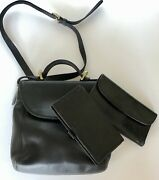 Coach Vintage Legacy 4158 Black Leather Crossbody W/ Matching Wallet And Checkbook