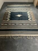 Vintage Southwestern Mexican Zapotec Saltillo Woven Wool Rug Large Blanket