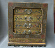 19.4 Antique Chinese Wood Lacquerware Painting Dynasty Bat Storage Box Food Box