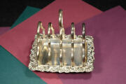 English Antique Silver Plate Footed Toast Rack With Tray
