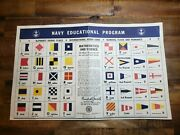 Wwii Us Navy Educational Program Signal Flag Poster W/ Randall Jacobs Signature