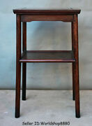 28.8 Antique Old China Huanghuali Wood Dynasty Double Layer Flower Stand Shelf