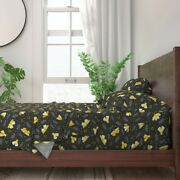 Moths Night Color Year 100 Cotton Sateen Sheet Set By Spoonflower